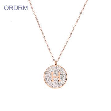 Custom Rhinestone Initial Disc Necklace For Moms