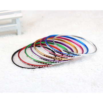 Engraved Shiny Aluminum Bangle Plated Colorful Bracelet