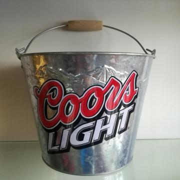 Embossed logo Ice Bucket with Wooden Handle
