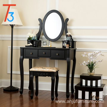 single mirror dressing set five organization drawers vanity table with wooden tool, black