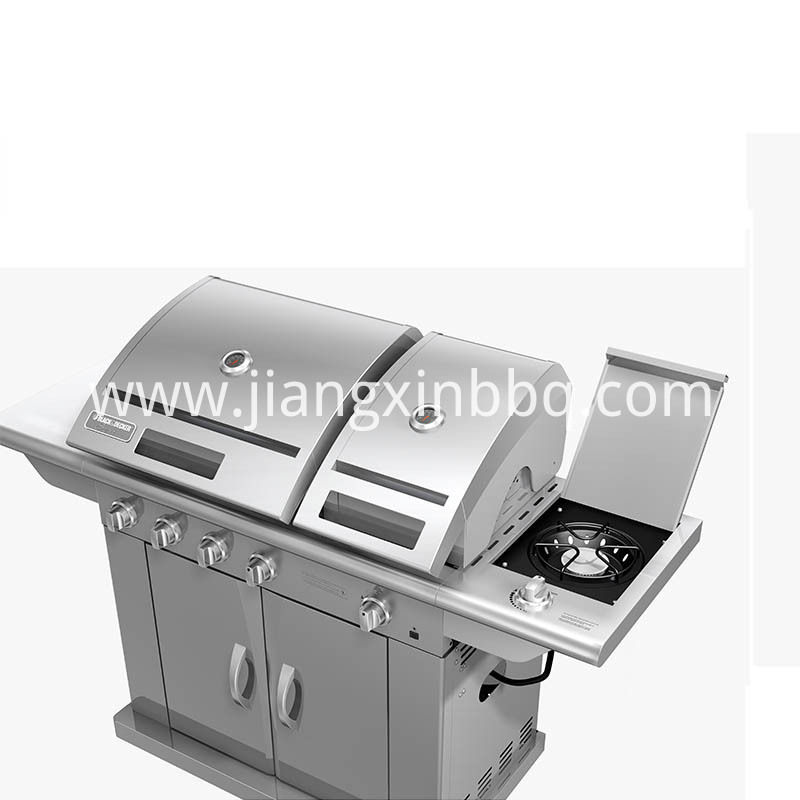 Split Lid Stainless Steel Gas Grill Side Burner View