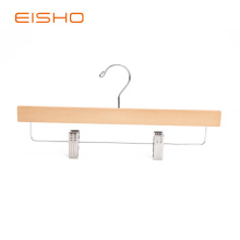 100% Original Factory for Wood Hangers For Clothes EISHO Adult Natural Bottom Wood Hanger With Clips supply to Netherlands Exporter
