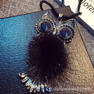 Charme de cute Owl métal avec fourrure Pom Cool Chokers collier