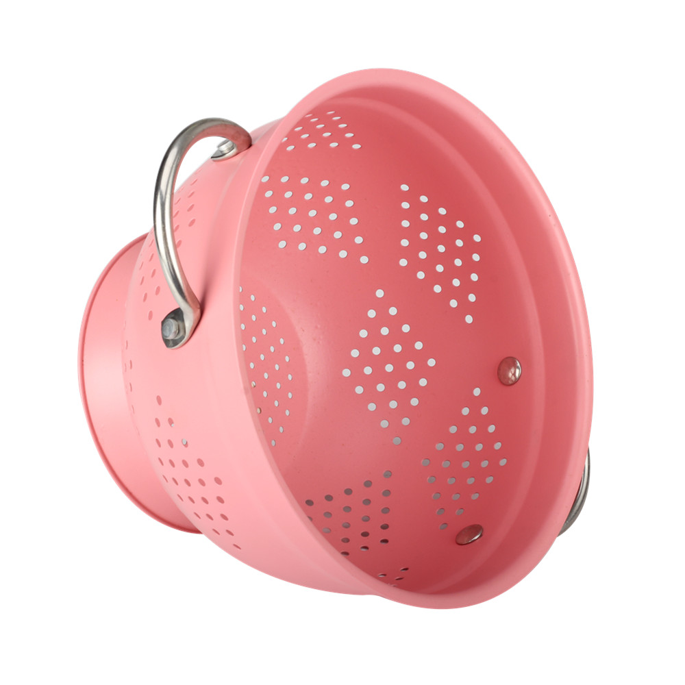 Painting Pink Fruit Colander With Durable Stainless Steel Handle