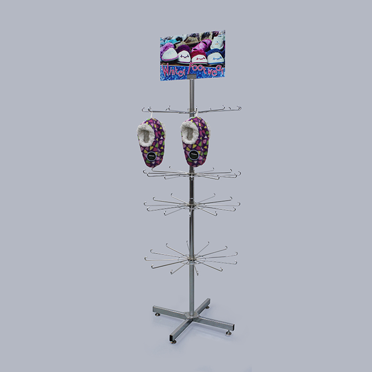 Retail Metal Hanger Shoes Display Rack With Wheels