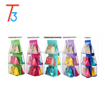 Newest fabric hanging bag organizer foldable with 6 plastics pocket
