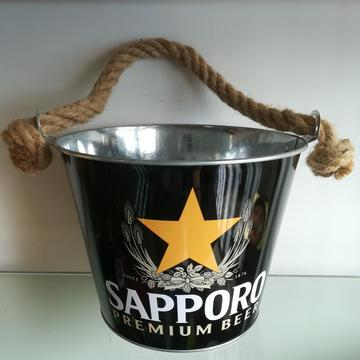 Tin Ice Bucket With Rope Handle