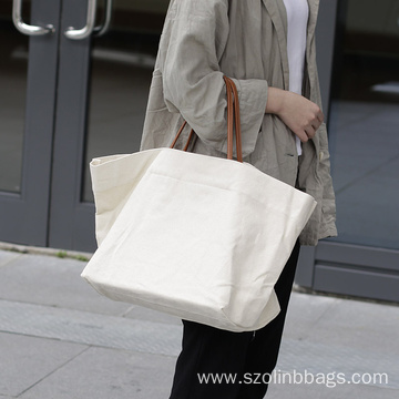 Plain Canvas Shopping Tote Bags with PU Handle