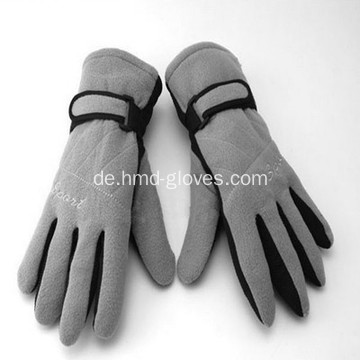 Graue Doppelschicht Winter Warme Fleece Handschuhe
