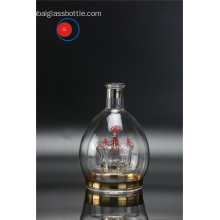 Round Shape Crown Golden Rim Glass Liquor Bottle