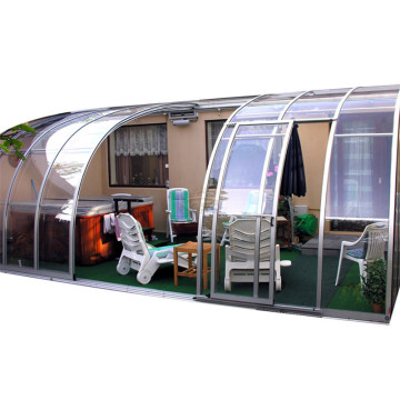 Tempered Glass Polycarbonate Roof Telescopic Sunroom