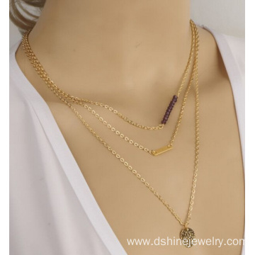 Gold Plated Beaded Chunky Chain Necklace With Tiny Pendant