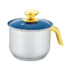 Stainless Steel Milk Pot with Golden Handle