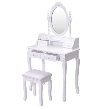 White makeup table wooden dressing table with full-length mirror