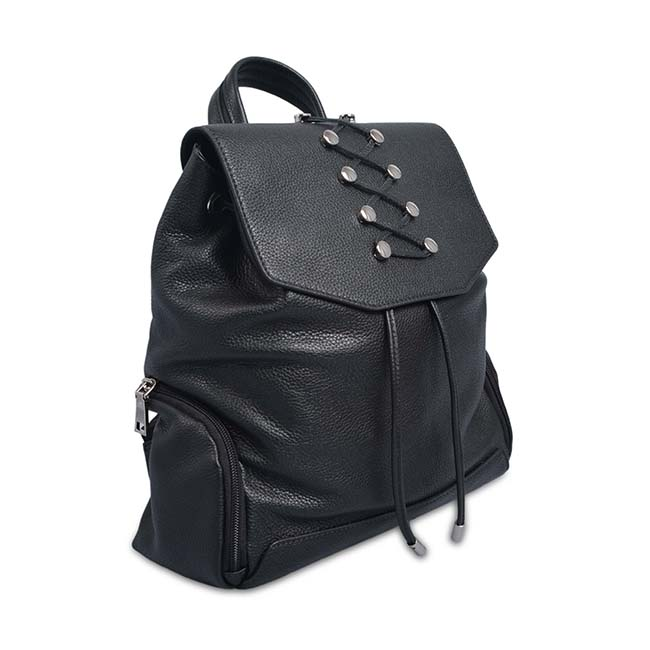 leather backpack black travelling back pack bags