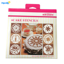 "Plastic 6pcs Cake Stencils for 9"" cake"