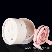 Cardboard Paper Pink Round Packaging Box for Cable