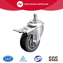 Medium 4 Inch 200Kg Threaded Brake PU Caster