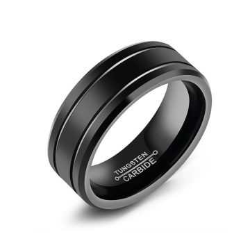 Comfort fit black tungsten carbide wedding bands