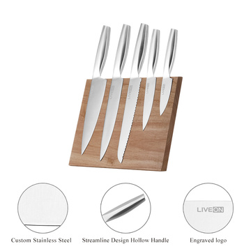 5pcs Hollow Handle Knife Set with Wood Block