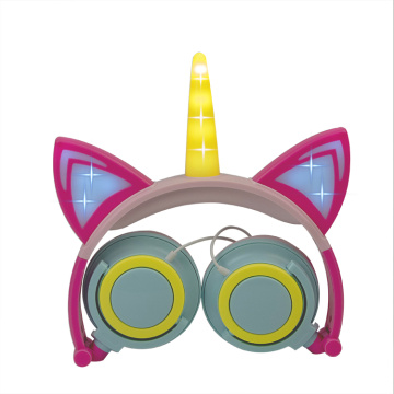 Unicorn Cat Ear LED Kids Headphone Creative