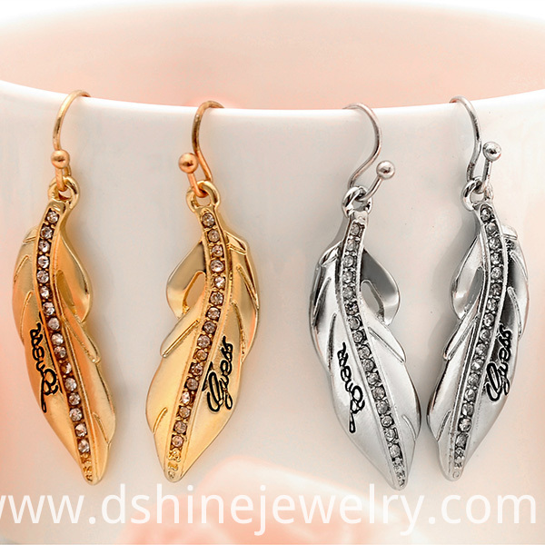 Rhinestone Alloy Feather Earrings