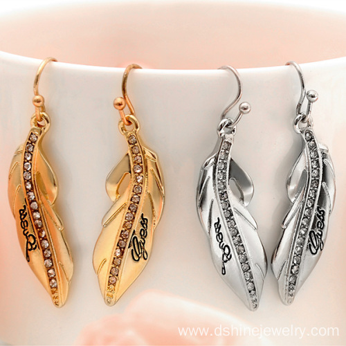 Rhinestone Alloy Feather Earrings With Words Silver Earrings