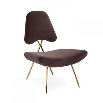 Modern Rose Gold Metal Upholstered maxime lounge chair