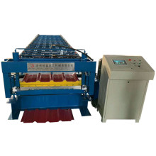 Colored double trapezoidal Steel panel roll Forming Machine