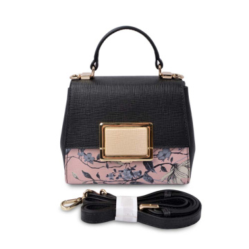 Floral Glossy Retro Vintage Rectangle Top Handle Bag
