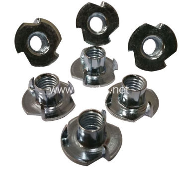 Metal stampings riveted  three  prong T-nuts
