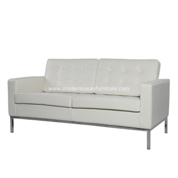 Florence Knoll White Genuine Leather 2 Seat Sofa