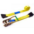 "2"" 5000kgs 50mm Wholesale Long Aluminum Handle Ratchet Buckle Cargo Lashing Straps With 2 Inch Flat Hooks"
