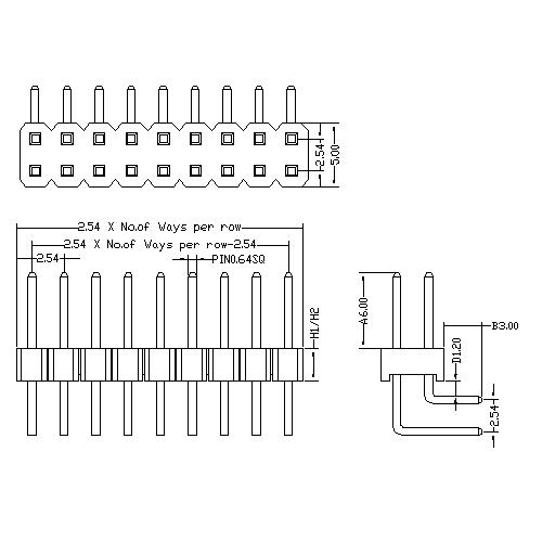 2.54 mm Pin Header Dual Row Angle Type PHER04-XXD