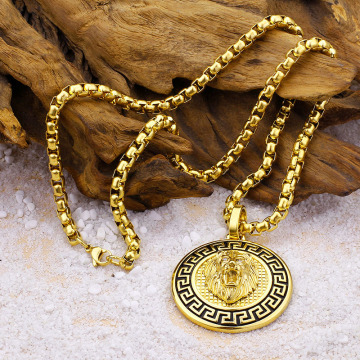 Hip Hop Mens Gold Lion Head Pendant Necklace