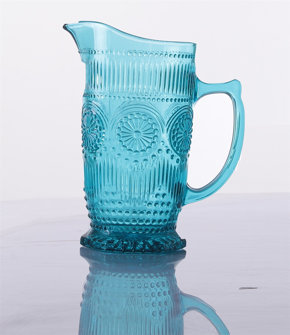 Blue Colored Sunflower Water Glass pitcher