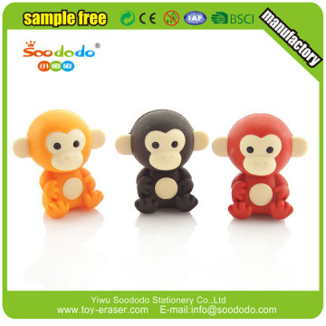 3d animal monkey shaped mini puzzle erasers
