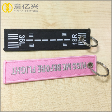 Newest cheap custom embroidered fabric keychain