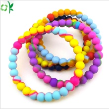 High-quality Charm Silicone Bead Bracelet with Mixed-colors