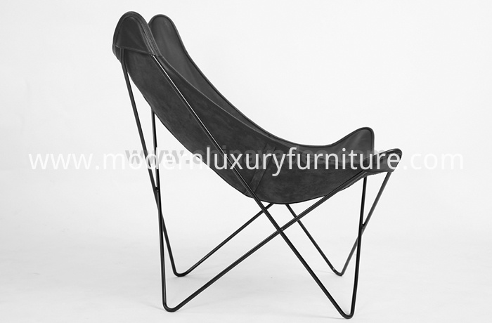 Leather Metal Frame Butterfly Lounge Chairs