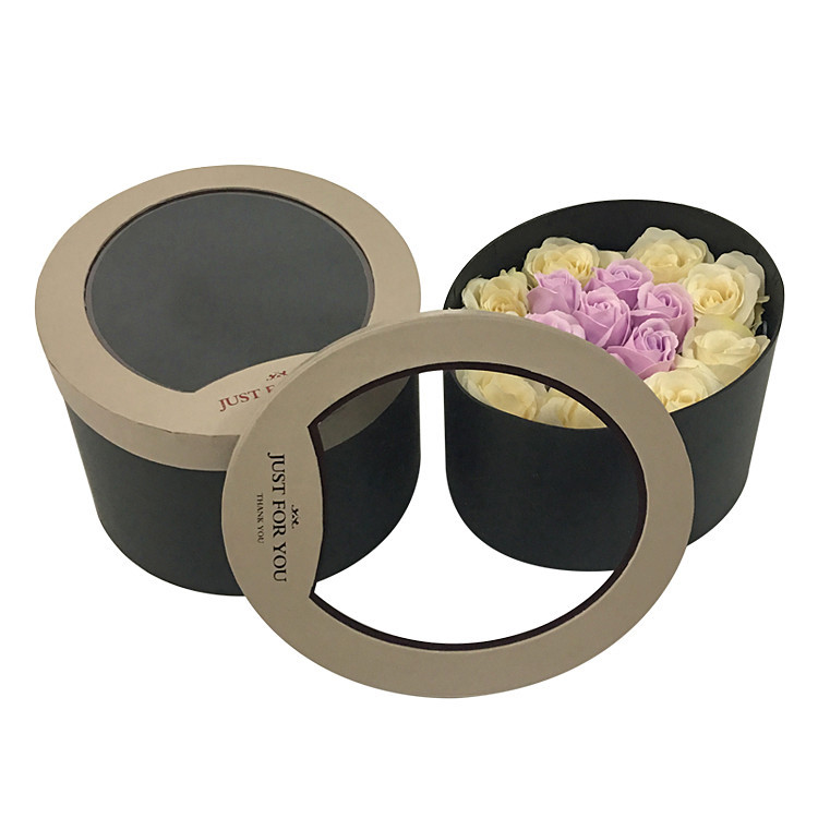 Round flower packaging box with window