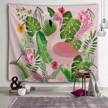 Flamingo Tapestry Flower Plants Leaf Wall Hanging Tropical Garden Pink Tapestry for Livingroom Bedroom Home Dorm Decor