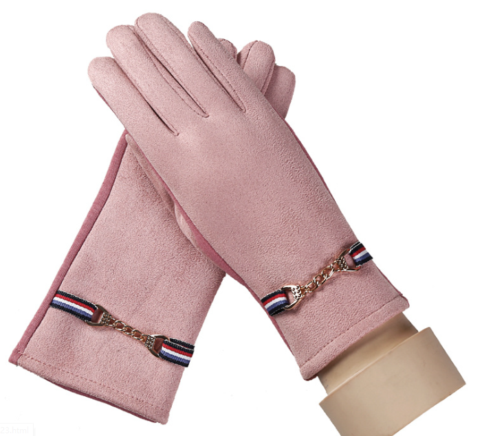 Suede Warm Autumn Winter Gloves Pink