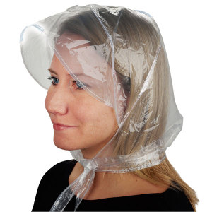 0.04mm PE disposable rain hood