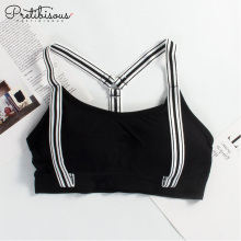 Sexy women wire free sports bra racerback bra