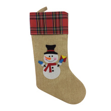 Scottish style christmas stocking with snowman pattern