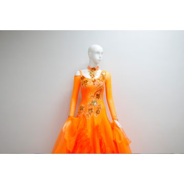 Orange ballroom dance costumes for ladies