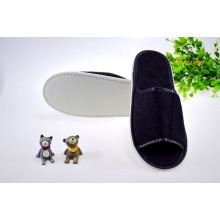 Black Terry Slipper Towel Slipper Open Toe