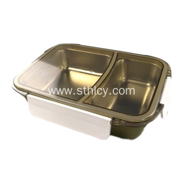 2 Compartments Leakproof Stainless Steel Food Container