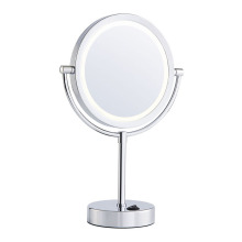Two-sided battery round bathroom mirrors